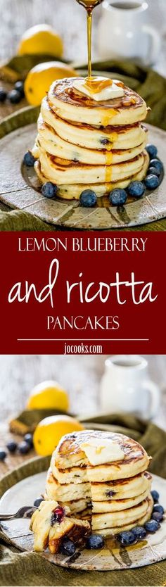 A little bit of lemon juice, some gorgeous blueberries, ricotta cheese, a pinch of salt and a bit of vanilla, and finally that last touch of maple syrup and butter, combine together in a glorious harmony to create these gorgeous pancakes.