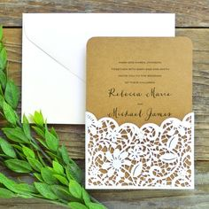 Laser Cut Lace Pocket Invitation Kit