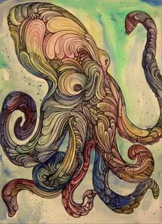 colorful octopus lurking - could use same for birds and the wings