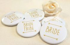 38mm-Bride-Tribe-Team-Bride-Hen-Do-Party-Badges-Personalised-Option-GOLD