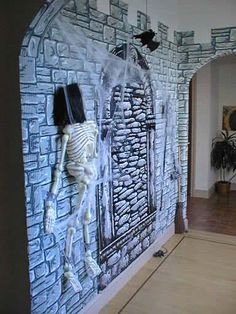dungeon scene setter with castle cut outs on top