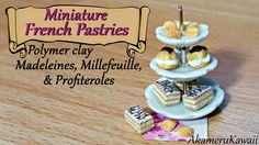 Miniature French Pastries; Madeleines, Millefeuille, & Profiteroles poly...Published on Jan 16, 2015 Hi guys! Today's video is on French pastries; miniature Madeleines, Millefeuille, and Profiteroles ^^ These are in 1:12 scale, but you can make them in any size you want and add headpins to make them charms :) I used a mix of the polymer clay brands Fimo and Cernit in this video, but you can use any brand you like. Thank you so much for watching, I hope you enjoyed this video ^^