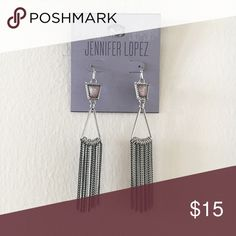 "Jennifer Lopez Drop Earring NEVER WORN!  Statement earring with 3"" drop.  Purple gem accent with chain fringe.  No trades pls! Jennifer Lopez Jewelry Earrings"