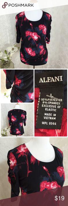 "Alfani black and red roses blouse. B021 Alfani black and red roses blouse. 95% polyester 5% spandex. 21""across armpit to armpit 27"" long. Elastic ruching on sides and sleeves. Sexy and stylish Alfani Tops Tees - Long Sleeve"