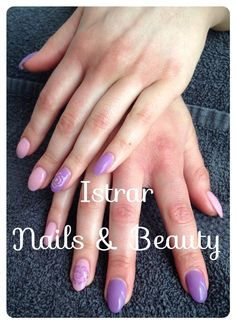 Beautiful pink and purple shellac with a rose.