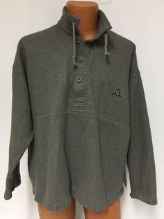 Vintage Nike ACG Jacket L Men's Sweatshirt Pullover Olive Green Stand Up Collar #NikeACG #BasicJacket