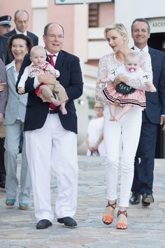 MyRoyals:  Princely Family of Monaco attend Pique Nique Monegasque, August 28, 2015-Prince Albert with Hereditary Prince Jacques and Princess Charlene with Princess Gabriella with Albert's cousin Elisabeth-Anne de Massy to the left