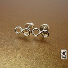 Sterling silver INFINITY earrings  :  studs, handmade, cute, small. $15.00, via Etsy.