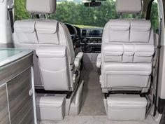 UTILITIES pour les sièges de la cabine conducteur T6 / T5 VW California California Ocean, Coast, Confortline, Trendline, design « Gris Moonrock Cuir »
