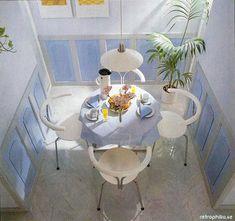 periwinkle and grey wainscoting, modern white chairs, Bodum thermos, palm via retrophilia. Vogue Home, Retro Interior Design, Pastel Designs, Moving House, Colorful Furniture, Dream Decor, House Design, Home Decor, Rooms