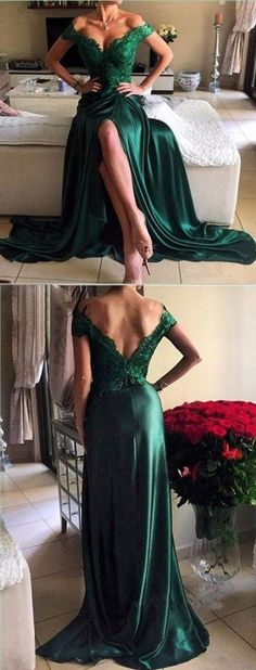 Off Shoulder Green Lace Evening Prom Dresses, 2017 Long Slit Prom Dres – SposaDesses