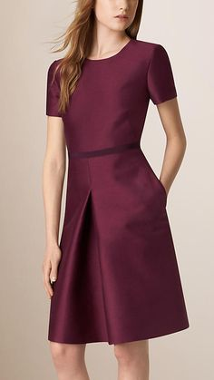 Deep plum Sculptural Cotton Silk Dress - Image 1