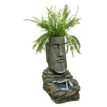 Solar powered water feature     http://www.ukwaterfeatures.com/Shop/p-6311-Easter-Island-Head-Solar-Water-Feature.html