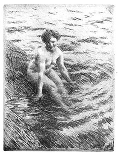 """Anders Zorn (Swedish, 1860-1920), """"The Bather, Seated,"""" ca. 1910."""