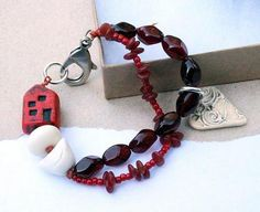 Red and white bracelet house pendant bird bead by esferajewelry, $42.50