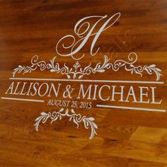 Dance Floor Decal - Established Date Wedding Sign - Initial Monogram Wall Decal - Personalized Name Decal - Bedroom Wall Decal Decor FN014 by FleurishWalls on Etsy https://www.etsy.com/listing/186057088/dance-floor-decal-established-date