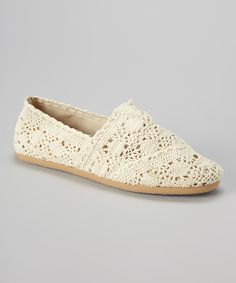Look at this Beige Crocheted Mitty Flat on #zulily today!