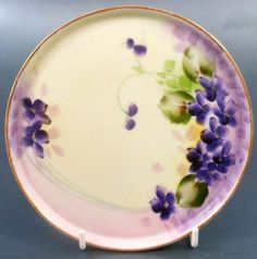 hand painted plate with violets