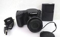 Canon PowerShot SX400 IS 16 MP Digital Camera 30x Optical Zoom - Black