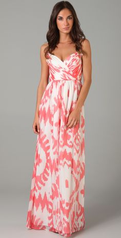 Shoshanna Ruched Long Dress | SHOPBOP