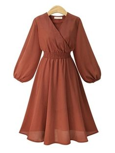 Ladies Summer Midi Dress High Waist V Neck Lantern Sleeve Casual Dress Woman Vestidos 2018 Beach Tunic Brown XL Muslim Fashion, Modest Fashion, Hijab Fashion, Fashion Dresses, Maxi Dress With Sleeves, Casual Dresses For Women, Dress Outfits, Gowns, Bishop Sleeve