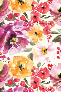 Fall Floral Painted Watercolor Flowers in Purple Gold by sugarfresh - Hand painted watercolor flowers in rose, red, gold, and emerald on fabric, wallpaper, and gift wrap. Beautiful watercolor floral design.