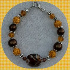 Brown and Mustard Yellow Bangle Bracelet by Sounique2013 on Etsy, $15.00