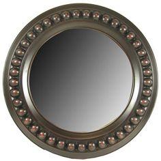 Aged Reddish Black Round Bead Mirror