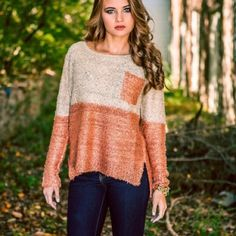 Two-Toned Sparkle Sweater Two Toned Sparkle Knit Sweater. Beige and copper colored with sequins. Oversized. Hi lo. Side slits. Cute pocket on front. One size fits most. Worn once for the holiday. Mint condition. Cecico Sweaters Crew & Scoop Necks