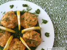 Salmon Meatballs with Dill Pesto -- Contains nuts. Has egg but is otherwise dairy-free. [gluten-free, paleo, grain-free]
