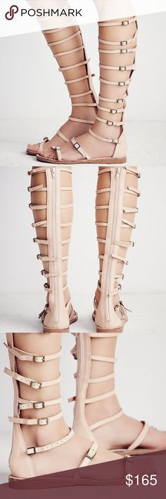 FREE PEOPLE STARGAZER SANDALS NWT STRAPPY LEATHER GLADIATOR SANDALS FEATURING ADJUSTABLE BUCKLES AND EXPOSED ZIP ALL THE WAY UP THE BACK FOR EASY ON AND OFF. SHAFT 16.5 41.91 cm. Free People Shoes Sandals
