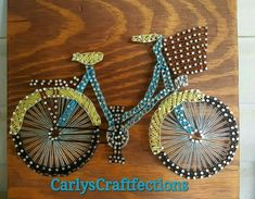 Custom Bicycle Check out this item in my Etsy shop Name changed to Nail, String and Wood https://www.etsy.com/listing/476900443/bicycle-home-decor-string-and-nail-art