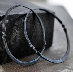 oxidized silver hoop earrings with a twist