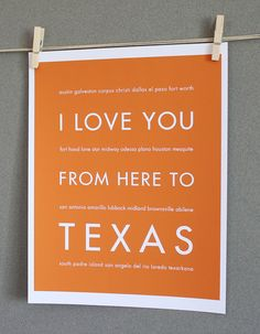 Texas Art Print I Love You From Here To TEXAS by HopSkipJumpPaper