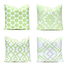 Green Pillows, Pillow Covers, Decorative Throw Pillow Covers, Green Cushion Covers, Kiwi Green Accent Pillow, Polka Dots Damask