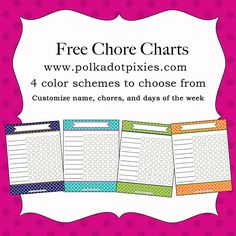 Polka Dot Pixies: Free Customizable Chore Chart. 4 different colors to choose from