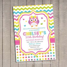 Owl Invitation / Birthday Owl Invitation / by LittleApplesDesign, $12.00