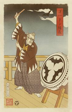 Sengoku Batman - Gordon Summons the Bat - Japanese Ukiyo-e Style Art