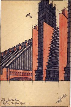 """Illustration of """"La Citta Nuova: Station for airplanes and trains"""", 1914, Private Collection taken from """"The Work of Antonio Sant'Elia"""", Esther da Costa Meyer, 1995, published by Yale University"""