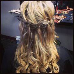 Half updo with waterfall braid  Done by: Hair Envy Creative Designs  www.hairenvycd.com