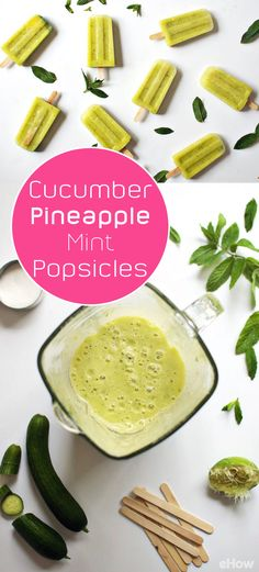 Eating a juicy, fruity popsicle in a warm summer breeze is one of life's simple pleasures. This combination of cucumber, pineapple and mint tastes crisp and refreshing. You only need 6 simple ingredients to make your own version of these popsicles. Recipe: www.ehow.com/how_12343311_cucumber-pineapple-mint-popsicles-summer-sticks.html?utm_source=pinterest.com&utm_medium=referral&utm_content=freestyle&utm_campaign=fanpage