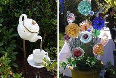 altes Geschirr als Gartendeko kreativ verwenden