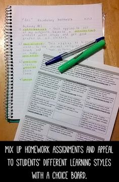 Mix up homework assignments and appeal to students' different learning styles with a choice board.