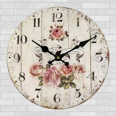 Details about Vintage Rustic Wooden Wall Clock Antique Shabby Chic Retro Home Kitchen Decor Wall Clock Wooden Rustic Retro Shabby Chic Home Kitchen Decor Art Gifts Shabby Chic Rustique, Rustikalen Shabby Chic, Shabby Chic Bedrooms, Shabby Chic Kitchen, Shabby Chic Homes, Shabby Chic Furniture, Kitchen Decor, Kitchen Living, Living Room
