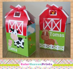 Farm Birthday Party Favor Box Farm Party by ColorHeavenPrints, $10.00
