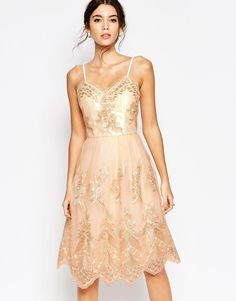 Image 1 ofChi Chi London Premium Metallic Lace Midi Prom Dress with Cami Straps