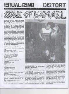 "Equalizing X Distort zine (Volume 12, #1, March 2012, 36 pages, 8 1/2"" x 11"") The lastest issue is pretty much entirely made up of an in-depth interview with members of the long running hardcore group Sons of Ishmael. Besides the interview years of gig posters are reproduced and probably more than you ever wated to know about Meaford Ontario."