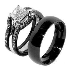 #blackdiamondgem #jewelry-ad His & Hers 4 PCS Black IP Stainless Steel Wedding Ring Set/Mens Matching Bandby Lanyjewelry