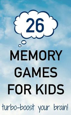 Brain Boosting Memory Games for Kids Memory games for kids that improve working memory and brain function.Memory games for kids that improve working memory and brain function. Memory Games For Kids, Mind Games For Kids, Language Games For Kids, Brain Memory Games, Kids Brain Games, Concentration Games, Improve Concentration, Brain Activities, Auditory Processing Activities