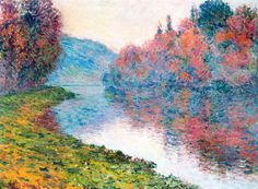 """Claude Monet: ""Banks of the Seine at Jenfosse - Clear Weather "",1884."